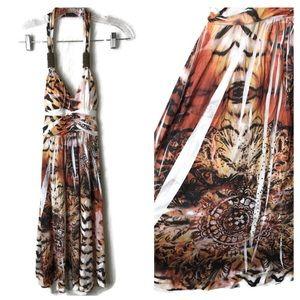 Cristina Love Zebra Exotic Print Halter Dress